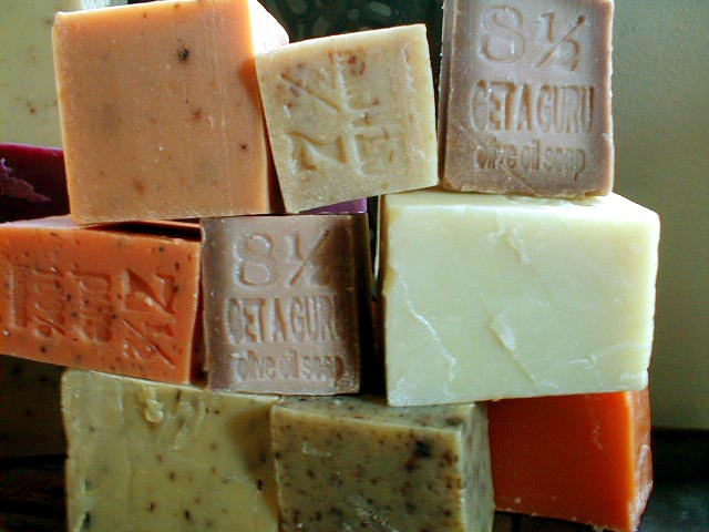 blocks of getaguru soap, pure handmade soap, made with 100% natural oils and essential oils.